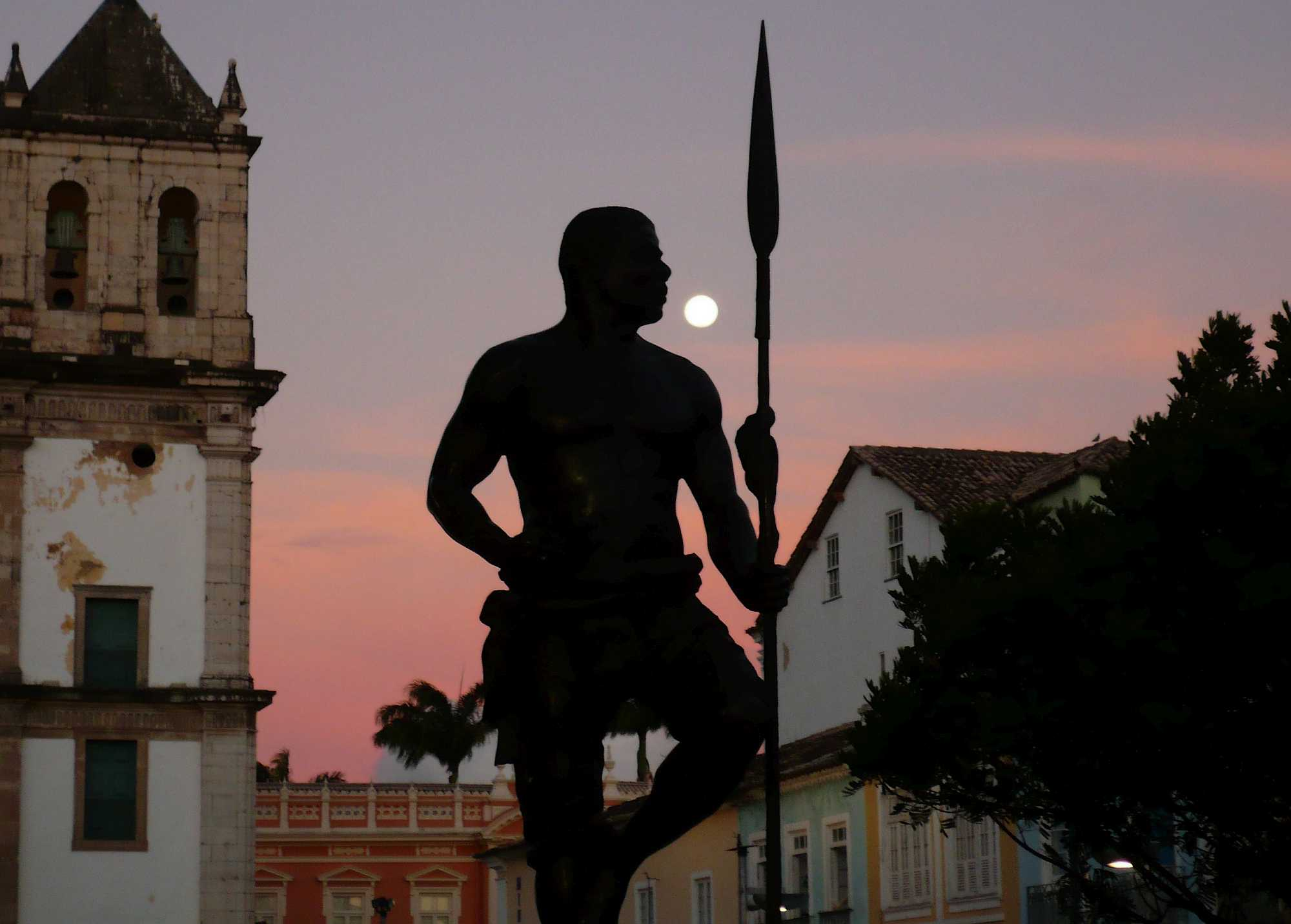 Bronze sculpture of Zumbi dos Palmares, in Salvador, Bahia state