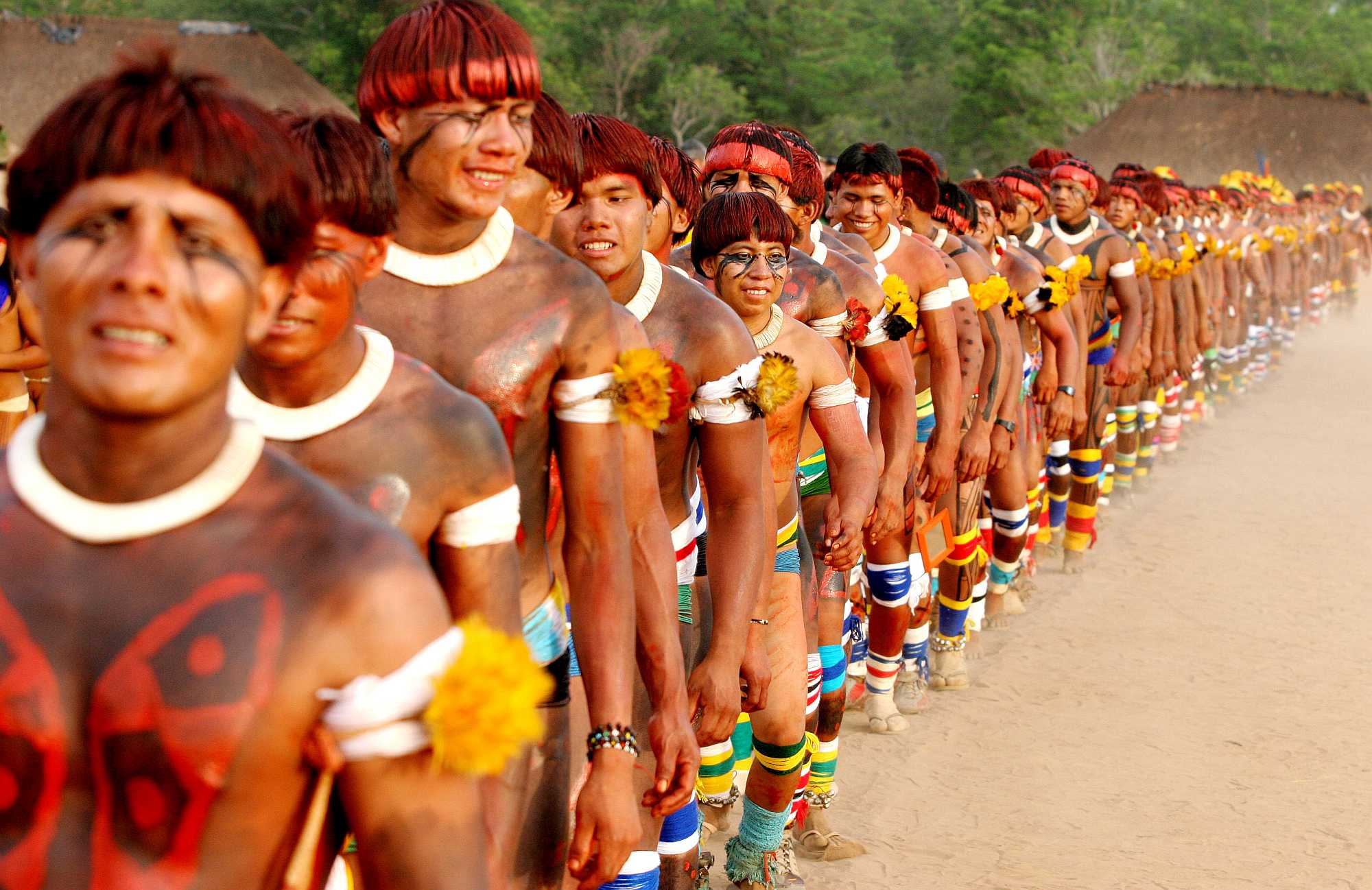 Brazilian Indians From The Xingu Park In Amazon Celebrating Kuarup Festival